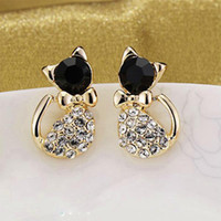 12pairs Nouvelle forme coréenne délicate Bow Bling Rhinestone Crystal Cat Shape Womens Ear Stud Earrings Jewelry Gift Free Ship