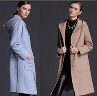 Wholesale Camel Wool Coat Women - woman winter wool coats hooded light blue camel 2018 fashion high quality maxmara cashmere coats ladies Outerwear woolen coats