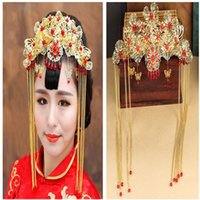 Wholesale Chinese Hair Flowers - Flowers Classical Chinese Style Bridal Hair Accessories Costume Wedding Headdress Wedding Coronet Cheap