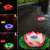 ingrosso fiore di loto solare-Ricambio di colore LED Lampada solare ricaricabile a loto ricaricabile a batteria Lampada galleggiante a LED con luce solare a fiori 2V 40MA