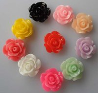 Wholesale Assorted Flower Cabochon - Assorted Color (10 color) Resin Flowers Rose Cameo Cabochon Base Setting Charm 11mm 500pcs lot
