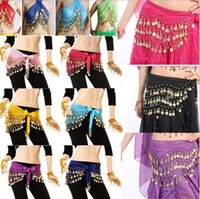 Wholesale Belly Dance Coin Scarfs - 3 Rows 98 Coins Belly Egypt Dance Hip Skirt Scarf Wrap Belt Costume High quality Stage Wear