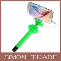 Wholesale Smart Sexy - Handheld Extendable Selfie Stick Sexy Lips pattem kiss me Audio Cable Wired Monopod Pink and Red for IOS & Android smart phone