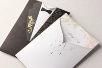 Wholesale Tuxedo Card Invitations - 2015 Personalized wedding invitations cards Tuxedo & Dress Bride & Groom Wedding Invitations Cards Customizing and Printing invitations set