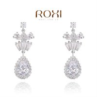 Wholesale Platinum White Zircons - FG ROXI Exquisite platinum plat,water drop with white snowflake pendants for women,zircons,fashion jewelrys, BEST Christmas gifts