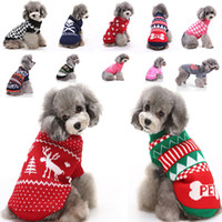 Wholesale reindeer christmas sweater - New Arrival Reindeer Dog Christmas Halloween Party Clothing Knitted Puppy Pet Cat Costumes Snowflake Outerwears Coat Sweater Clothes HH7-250