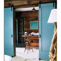 Wholesale wood barn - 8FT Antique Black Wooden Double Sliding Barn Closet Door Heavy Duty Modern Wood Hardware Interior American Style Track Kit