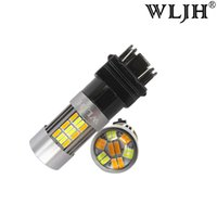 Wholesale 3157 Switchback Led - WLJH 3157 3057 LED Auto Car LED Front Turn Signal Parking Lights Switchback Drl Trunk Brake Bulb lamp White+ Amber Dual Color