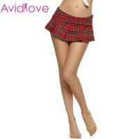Wholesale Sexy Plaid Mini Skirt - Wholesale-Avidlove Brand Women Fashion Sexy Lady Schoolgirl Cosplay Sleepwear Plaid Night Super Mini Pleated Skirt
