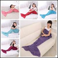 Wholesale Wholesale Acrylic Blankets - 13 Colors 140*70cm Kids Handmade Knitted Mermaid Blankets Mermaid Tail Blanket Crochet Blanket Throw Bed Wrap Sleeping Bag CCA8355 20pcs