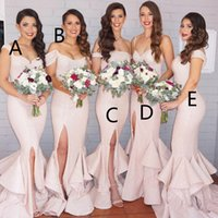Reference Images cascade mix - 2016 New Mermaid Light Pink Sequins Bridesmaid Dresses Bling Long Cap Sleeves Mixed Style Floor Length Split Wedding Party Gowns BA1593