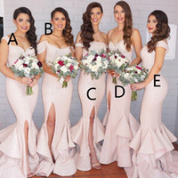 Wholesale Cascade Mix - 2016 New Mermaid Light Pink Sequins Bridesmaid Dresses Bling Long Cap Sleeves Mixed Style Floor Length Split Wedding Party Gowns BA1593