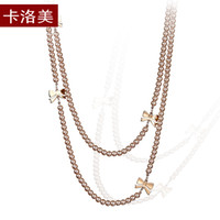 Wholesale Long Silver Pearl Cross Necklace - Kalome Korean fashion bow long pearl necklace female all-match autumn clothing accessories pendant sweater chain