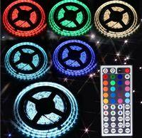 Wholesale Round Eu Adapter - DHL 3528 5050 SMD RGB Waterproof Flexible Led Strips Light 5M 60leds 300 Leds 24 Keys IR Remote Controller 12V Power Adapter EU US AU UK