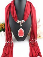 Wholesale Necklace Scarve - Oval Pendant Necklace Collares Brand New Charm Wrap Diamond Jewelry Scarf Silver Plated Necklace drop pendant scarve For Women