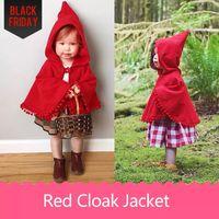 Wholesale Girls Cloak Coat - Girls Red Cloak Jacket Poncho Winter Coat