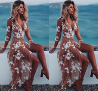 sexy tan spitze groihandel-Sexy boho abendkleider v-ausschnitt 3/4 langen ärmeln blumenapplikationen tüll weiß tan beach frauen kleid bodenlangen illusion prom kleider