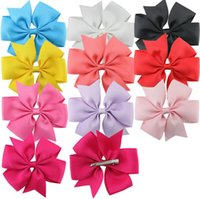 Wholesale Alligator Clip Sizes - 10 style solid barrettes hair accessories big size Grosgrain ribbon bowknot hair clips accessories grosgrain with alligator clips free ship