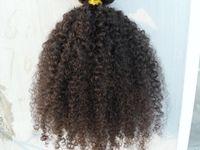 brezilya kinky afro kıvırcık siyah saç toptan satış-İnsan saç uzantıları yeni stil Brezilyalı kıvırcık saç atkı klibi işlenmemiş doğal siyah / kahverengi renk 9 adet 1 takım afro kinky kıvırmak