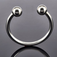 Wholesale Sex Jewelry - Men Penis Delay Ring Stainless Steel Cock Ring Cockring Glans Jewelry Two Beads Penis Delay Ejaculation Ring Sex Toys For Couple,2pcs