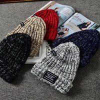 Wholesale korea winter fashion women - Free Shipping Korean version of the mixed color wool hat South Korea autumn thick winter plus steamed warm hat men and women pointed