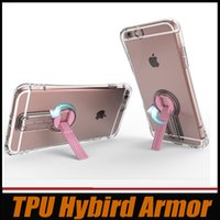 Wholesale Dust Plug Stand - Shockproof Armor Heavy Clear Case For iPhone 6 6s 4.7 Inch Soft Transparent TPU Covers Stand Holder with Dust plug Free DHL MOQ:100pcs