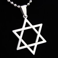 Wholesale Wholesale Star David - Lot 12pcs Fashion Jewelry Stainless Steel Magen David Star of David Hexagram Charm Pendant Chain Necklace Gift MN242