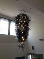 araña grande negro moderno al por mayor-Envío libre grande barato iluminación de la lámpara arte clásico moderno boca soplado vidrio Barato negro cristal araña