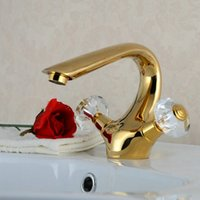 Wholesale Swan Faucet Crystal Handles - Golden Polished Bathroom Basin Sink Mixer Tap Swan Style Crystal Handles Faucet