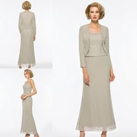 Wholesale tea length mother groom plus size resale online - Three Pieces Plus Size Mother Of The Bride Dresses With Jacket Long Sleeve Tea Length Mother Of The Groom Dress Formal Evening Gown