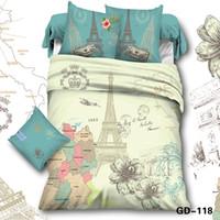 Wholesale romantic king bedding - Wholesale-Full Queen King Size100% Cotton High Quality 3D Bedding Sets Duvet Cover Bed Sheet 2 Pillowcase Romantic City Print