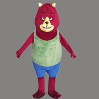traje de urso vermelho venda por atacado-Hot 2018 New: Adorável New Red Bear Mascot Costume Para Festival / Hallooween / Natal
