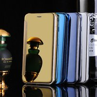 Wholesale Gold Edge Chrome - For iphone 6 6plus Galaxy S6   S6 edge Plus Mirror Chrome Clear View Leather Wallet Flip Case Cover Gold Silver For Samsung S6lus