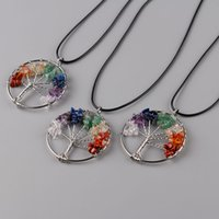 Wholesale Chip Tin - Women Rainbow 7 Chakra Amethyst Tree Of Life Quartz Chips Pendant Necklace Multicolor Wisdom Tree Natural Stone Necklace