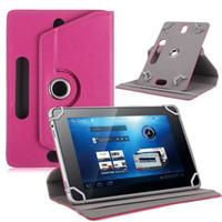 orta ipad tablet toptan satış-Tablet PC için PU Deri Evrensel Kılıf iPad 6 360 Derece Döndür Standı Kapak Fold Kapak Dahili Kart Toka Kapakları 7 8 9 10 inç ORTA ...