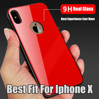 Wholesale Design Back Covers - For Iphone X Phone Case New Design Glass Back Cover Soft TPU Edge Fashion Cases For Iphone 8 Plus 2017 New Phone Protection
