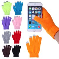 емкостный сенсорный экран смартфона оптовых-Wholesale-Fashion Soft Winter Men Women Touch Screen Gloves Texting Capacitive Smartphone Knit