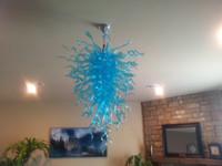 elegantes luces de techo de cristal al por mayor-Envío gratis elegante lámpara de techo 100% mano de cristal soplado araña de cristal azul iluminación para la casa Deco