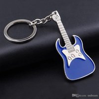 Wholesale key chain guitar - 5 colors musical instrument keychain zinc alloy guitar key chains key ring guitar pendants for bag fashion jewelry Accessories 240238