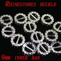 Wholesale Rhinestones Buckles Invitation - Round Rhinestone Crystal Buckles Brooches 9mm Bar and 10mm Bar Invitation Ribbon Chair Covers Slider Sashes Bows Buckles Wedding Supplies
