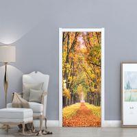 ingrosso autoadesivo foglia d'acero-3D autunno Maple Leaf Park porta adesivo casa camera da letto scorrevole porta decorativi carta da parati in PVC impermeabile adesivi murali