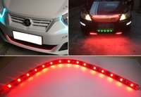 Wholesale Motorcycle Strip Lights - Red 8 Pcs 15 LEDs Car Truck Motorcycle Flexible LED Strip Light Lamp 12V Waterproof