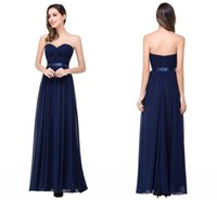 Wholesale Stockings Ribbon Back - 2016 Cheap In Stock Navy Blue Chiffon Bridesmaid Dress Sweetheart Zipper Back Floor Length Wedding Party Gowns BZP0831