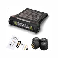 Wholesale Tire Gauge Solar - Solar Powerd Wireless TPMS Tire Pressure Gauge Built-in&External Alarm Monitor System for All Vehicles Car Truck Motorcycle