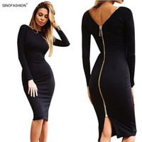Wholesale Longer Ladies Chiffon Dresses - SINOFASHION Women Sexy Night Club Bodycon Bandage Dress vestidos Solid Color Ladies Long Sleeve Back Zipper Slim Party Knee Dresses