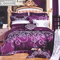 Wholesale Satin Bedding Wholesale - Wholesale-Fashion home textile bedding multiple set silk floss satin jacquard bed cover piece set xps-37