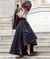 jupe de soirée noire pour femme achat en gros de-Nouveau Mode Noir Jupes Haut Bas Satin Buste Jupes Pour Femmes Jupe Haute Qualité Zipper Taille Plus La Taille Robes Formelles Robes De Soirée