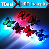 Wholesale Colorful Blinking Led - LED butterfly Braid Hairpin LightUp Hair Braid LED Extension Rave Blinking Hairpin Decoration Butterfly colorful flash led braid
