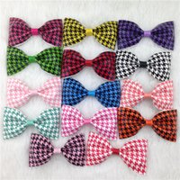 Wholesale Houndstooth Swallow - New design 3.5inch Swallow gird PU hair bow WITH CLIP for baby girls Houndstooth bows for kids hair accessroies 50pcs lot