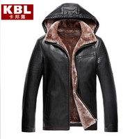 Wholesale Luxury Fleece Jackets - Fall-Mens Hooded Leather Jacket Black Mink Coat Fleece Lined Hooded Thick Luxury Coat Winter Brown High Quality